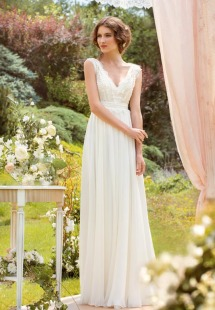 Style #1419, chiffon sheath wedding dress with beaded lace bodice, available in ivory