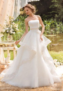 Style #1420, ball gown wedding dress with lace trimmed skirt, available in white and ivory
