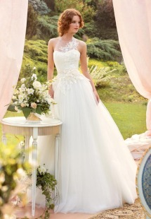 Style #1421, lace and tulle ball gown wedding dress with illusion neckline, available in white and ivory