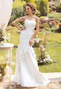 Style #1422, mermaid wedding gown with ruched bodice and flower details, available in ivory