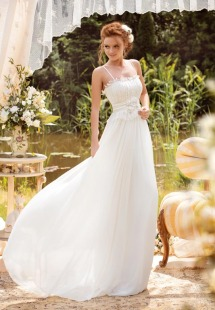 Style #1426, lace and chiffon sheath wedding dress with handmade brooch, available in white and ivory