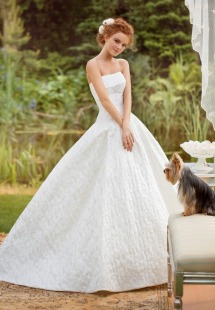 Style #1427, strapless jacquard ball gown wedding dress, available in ivory