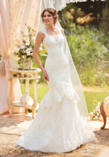 Style #1429, lace mermaid wedding dress with cap sleeves, available in white and ivory