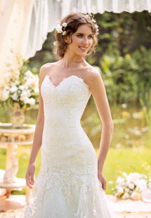 Style #1430, lace fit and flare wedding dress with back buttons, available in white and ivory