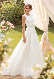 Style #1431, vintage inspired jacquard a-line wedding gown with high neckline, available in ivory