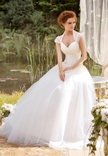 Style #1432, tulle ball gown wedding dress with cap sleeves, available in white and ivory