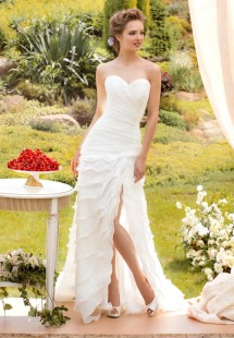 Style #1433, strapless sheath wedding dress with ruffled skirt and slit, available in white and ivory