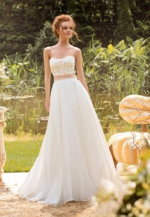 Style #1434, blush a-line wedding gown with lace bodice and silk flowers, available in pink-ivory