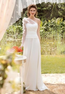 Style #1435, asymmetrical one shouldered wedding gown, available in ivory