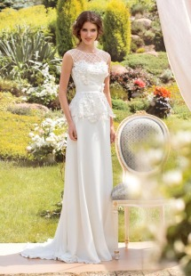 Style #1436, lace and chiffon sheath wedding gown with peplum waist, available in white and ivory