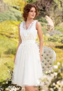 Style #1438, short tulle and floral applique wedding dress, available in white and ivory