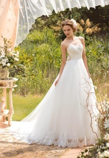 Syle #1439, ball gown wedding dress with lace sweetheart bodice, available in white and ivory