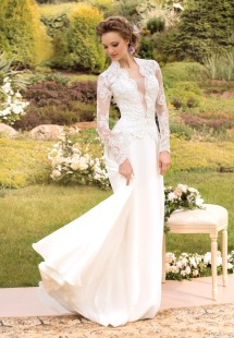 Style #1441, long sleeve lace wedding gown with plunging neckline, available in white and ivory