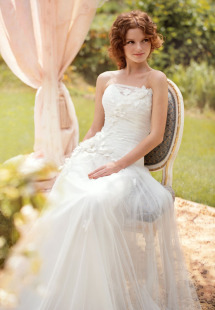 Style #1442, tulle and floral applique wedding dress, available in white and ivory
