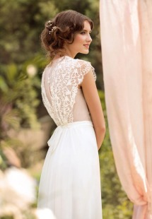 Style #1443, vintage inspired sheath wedding dress with beaded lace bodice, available in ivory
