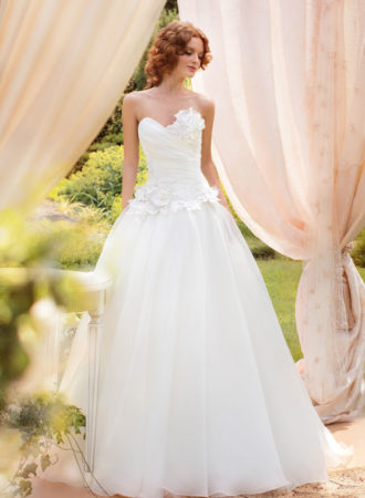 Style #1445, organza ball gown wedding dress with floral appliques, available in ivory