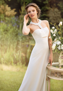 Style #1447, modern halter neck wedding gown, available in ivory