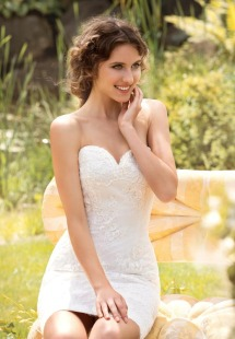 Style #1449, strapless lace short wedding dress, available in white and ivory