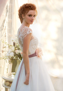 Style #1450, a-line tulle wedding gown with lace bodice and floral belt, available in ivory