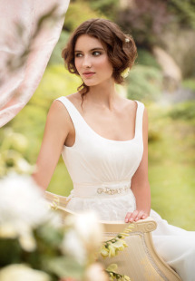 Stole #1451, chiffon sheath wedding dress with lace peplum, available in ivory