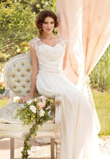 Style #1452, chiffon sheath wedding dress with beaded lace bodice, available in ivory