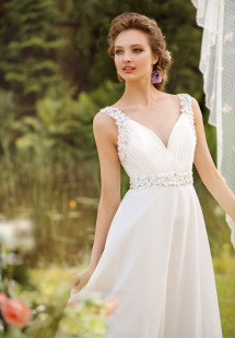 Style #1454, chiffon plunge neckline wedding gown with floral appliques, available in ivory