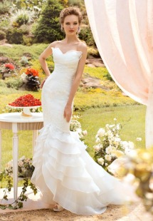 Style #1456, lace mermaid wedding gown with ruffled skirt, available in white and ivory