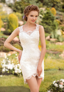 Style #1457, short lace wedding dress, available in white and ivory