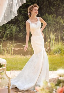 Style #1457, lace wedding dress with mermaid skirt, available in white and ivory