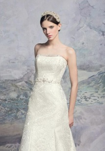 Style #1600L Premium, fit and flare jacquard wedding gown with beaded belt, available in light ivory