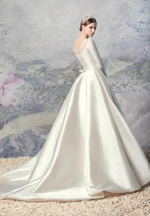 Style # 1601L Premium, long sleeve taffeta pleated ball gown wedding dress, available in ivory