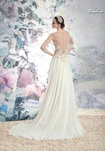 Style #1602L, illusion back sheath wedding dress with sheer sleeves and lace details, available in ivory
