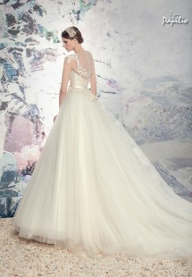 Style #1603L, lace bodice ball gown wedding dress with tulle skirt, available in ivory