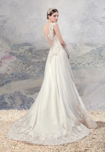 Style #1604, A-line wedding dress with plunging neckline and lace details, available in ivory