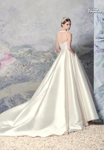 Style #1605L, Mikado ball gown wedding dress with pleated skirt and illusion neckline, available in white and ivory