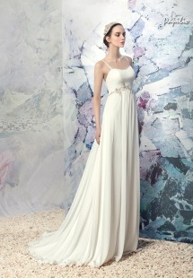 Style #1606L, chiffon sheath wedding dress with spaghetti straps and beading, available in ivory