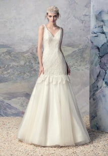 Style #1607L, lace and tulle mermaid wedding gown, available in white and ivory