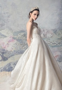 Style #1609, sweetheart neckline jackquard a-line wedding gown with train, available in cream