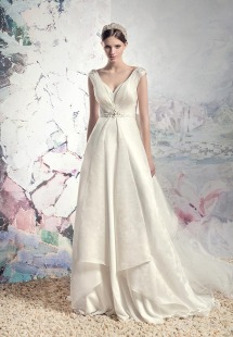 Style #1610, plunging neckline jacquard a-line wedding dress with beaded belt and train, available in cream