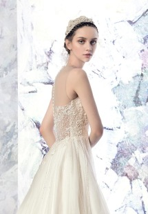 Style #1614L, tulle A-line wedding dress with beaded bodice and illusion neckline, available in ivory