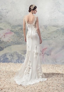Style #1615Lab, chiffon and tulle sheath wedding dress with floral appliques, available in white and ivory