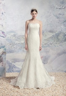 Style #1616L, fit and flare strapless lace wedding gown, available in white and ivory