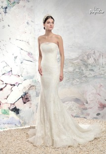 Style #1616LS, fit and flare strapless lace wedding gown, available in white and ivory