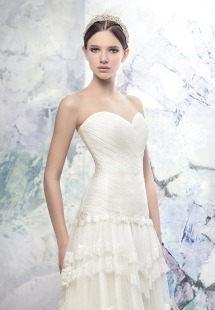 Style #1617L, sweetheart neckline A-line wedding dress with layered lace skirt, available in light ivory