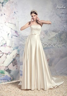 Style #1618L, strapless satin A-line wedding dress with beaded bodice, available in white, cream and ivory