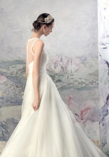 Style #1619L, ball gown wedding dress with tulle skirt and illusion neckline, available in ivory