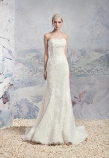 Style #1621L, fit and flare strapless lace wedding gown with corset back, available in ivory