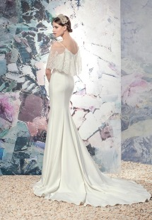 Style #1622L, sheath wedding dress with lace bodice, available in white and ivory