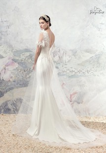 Style #1623L, sheath wedding dress with tulle overskirt and beaded lace sleeves, available in cream