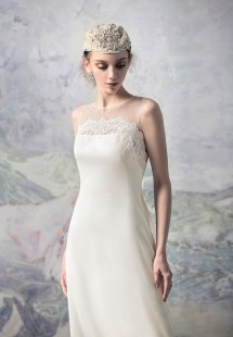 Style #1627L, chiffon sheath wedding dress with lace accents, available in white and ivory